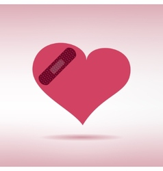 Plaster patched heart icon Love wound concept vector image