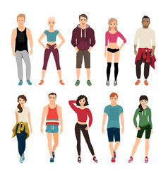 Yound people in sport outfits vector