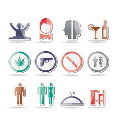 bar and night club icons vector image vector image