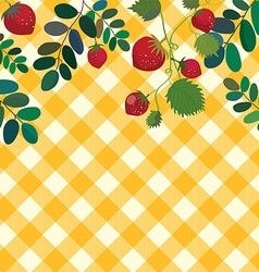 Food background with strawberry and plaid pattern vector image