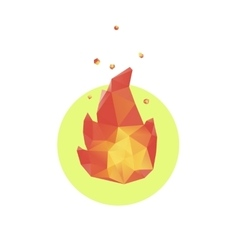 Lowpoly fire icon vector image