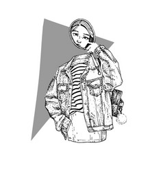 mysterious girl ghost with mirror in jeans jacket vector image vector image