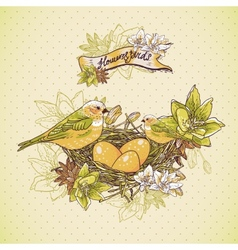 Vintage floral background with birds and nest vector image