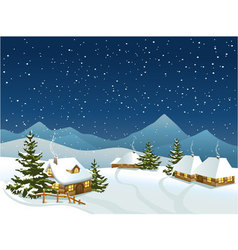 Winter rural landscape with mountains vector image vector image