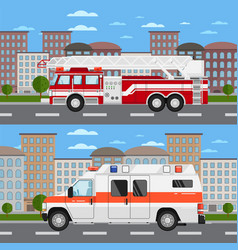 fire truck and ambulance car in urban landscape vector image vector image