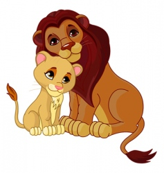 lion and cub together vector image vector image