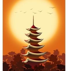 Pagoda at Sunset vector image