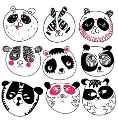 Panda head doodle set on white background vector image