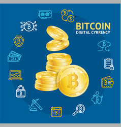 realistic 3d detailed bitcoin currency concept vector image