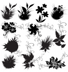 set of black floral design elements vector image vector image