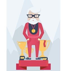 Old man on a winners podium in sport vector image