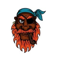Old pirate with eye patch smoking pipe vector image vector image