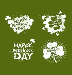 Patricks day Set logo Clover and rays of grunge vector image vector image