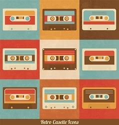Retro Cassette Icons vector image vector image