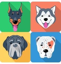 set 9 dog head icon flat design vector image