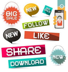 Social Media Paper Symbols Set with Share - vector image vector image