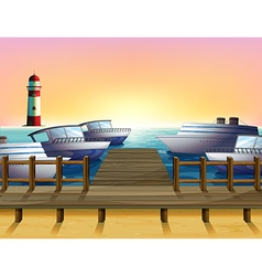 The port and the sunset view vector image