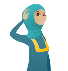 young muslim business woman scratching her head vector image vector image