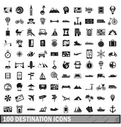 100 destination icons set simple style vector