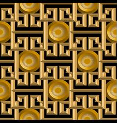 3d gold textured greek seamless pattern vector image