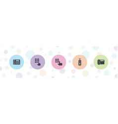 5 keypad icons vector