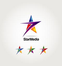 Abstract colorful star logo symbol vector
