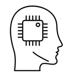 ai smart processor head icon outline style vector image