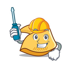 Automotive fortune cookie mascot cartoon vector