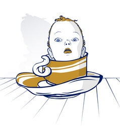Baby child head on coffee cup vector