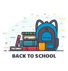 back to school line banner vector image