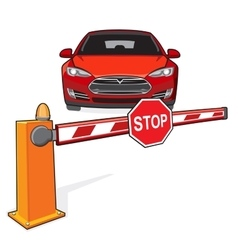 Barrier stop sign car vector image