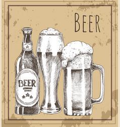 Beer glass bottle and mug vintage promo poster vector