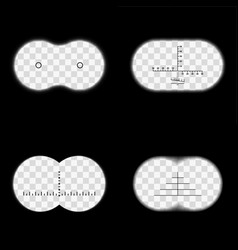 Binoculars field view with different reticles vector