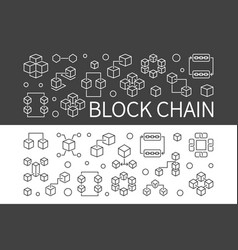 block chain concept banners set blockchain vector image