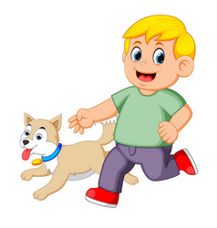 Boy running with his dog vector