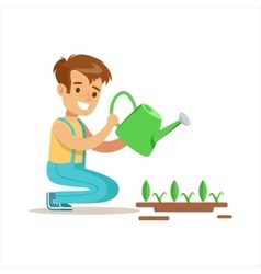 Boy Watering Sprouts Helping In Eco-Friendly vector