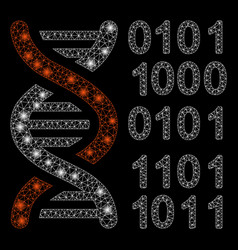 bright mesh wire frame genome code with light vector image