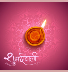 burning diya on diwali holiday background for vector image