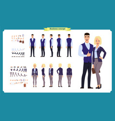 Business man and woman character constructor vector