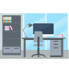 business office with desk and computer vector image