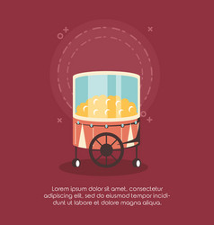 Carnival circus food booth pop corn retro vector