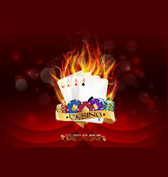 casino poker banner with chips and poker cards vector image