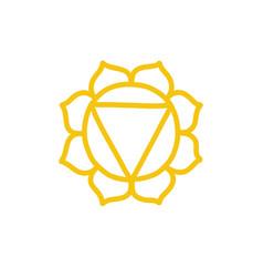 Chakra manipura doodle icon color vector