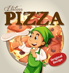Chef and italian pizza vector image
