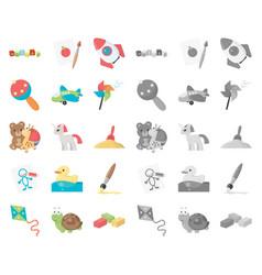 Children toy cartoonmono icons in set collection vector
