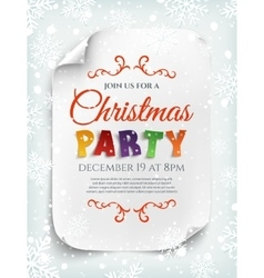 Christmas party poster template with snow and vector