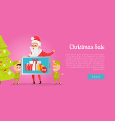 Christmas sale greeting card with santa and elves vector