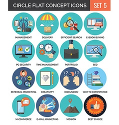 Circle Colorful Concept Icons Flat Design Set 5 vector