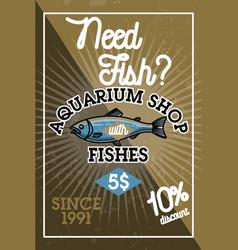 Color vintage aquarium shop banner vector