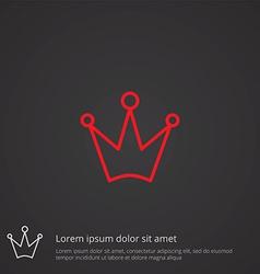 crown outline symbol red on dark background logo vector image